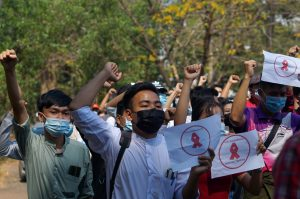 Thousands of Myanmar protesters in standoff with police in Yangon