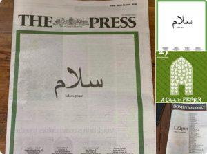 نیوزی لینڈ کے اخبارات کا شہدا مساجد کو 'سلام'