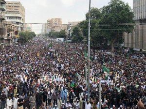 کراچی میں مزار قائد سے تبت سینٹر تک تحفظ ناموس رسالت وعظمت صحابہ واہلبیت مارچ